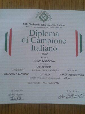 DIploma di Campionessa Italiana